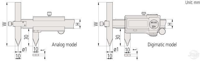 offset-centerline-Caliper Mitutoyo