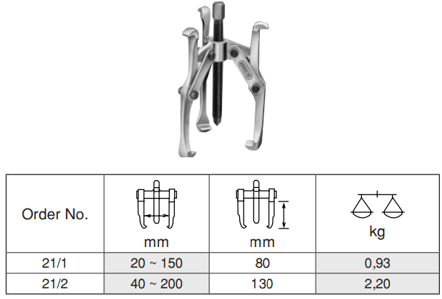 3 Arm Puller เหล็กดูดมู่เล่ 3 ขา Ega Master Table