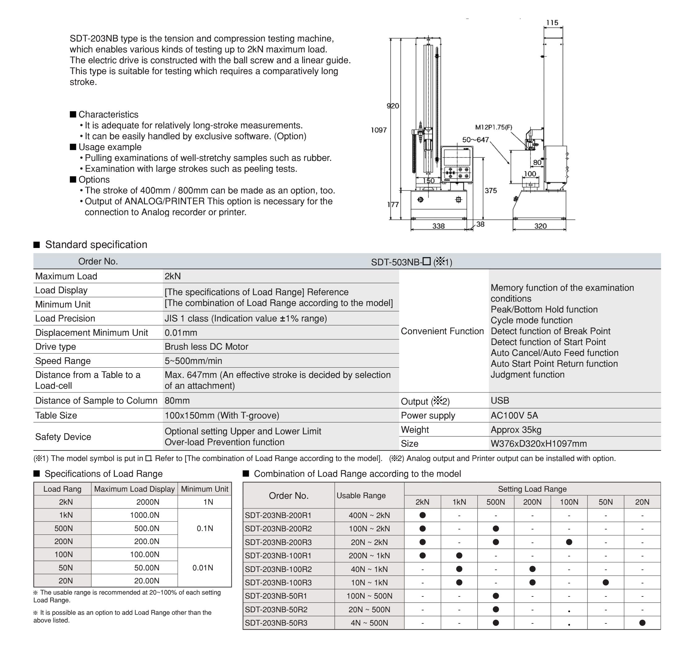 SDT-203NB เครื่องทดสอบรุ่น SDT-203NB IMADA SEISAKUSHO table