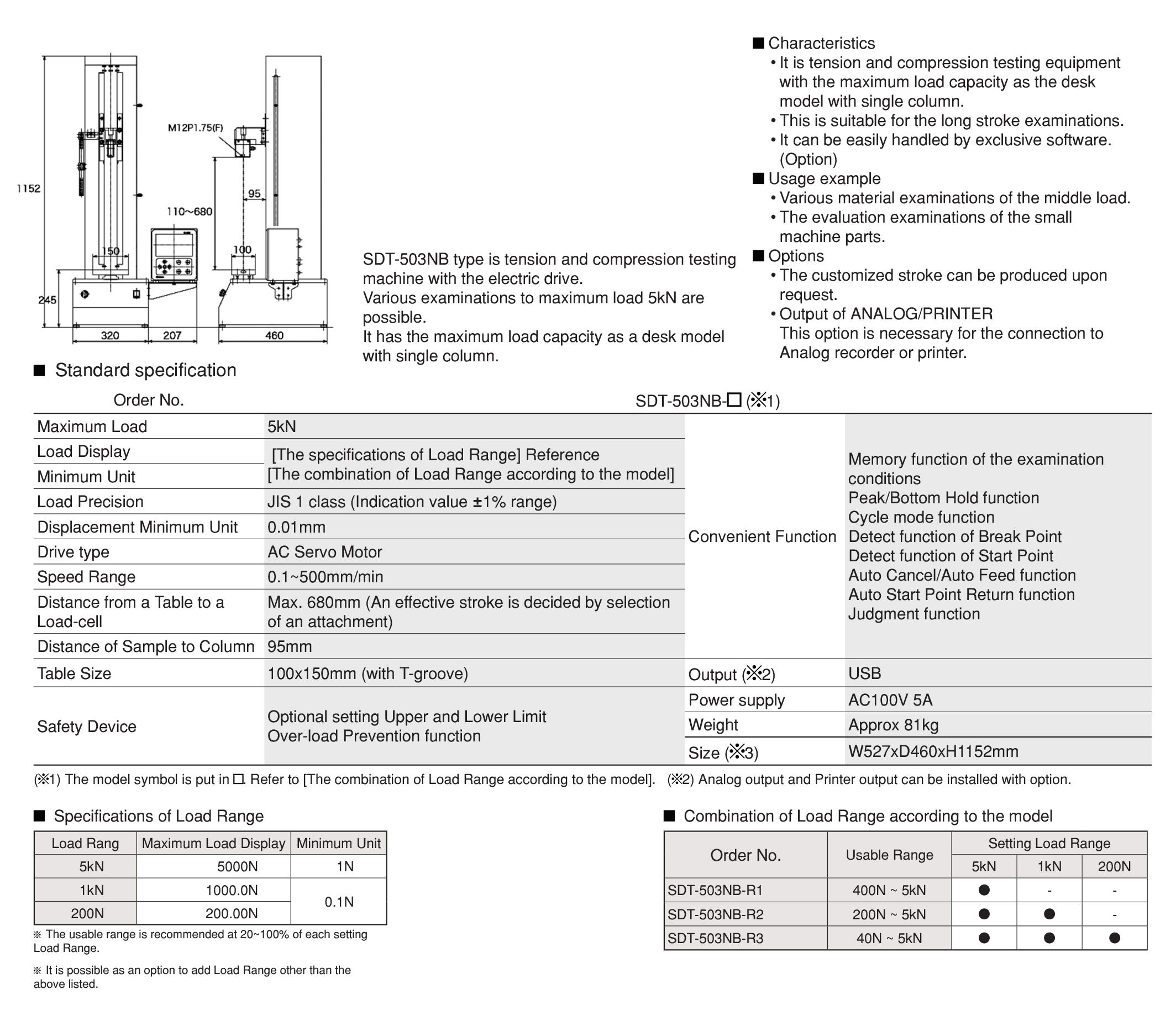 SDT-503NB เครื่องทดสอบรุ่น SDT-503NB IMADA SEISAKUSHO table