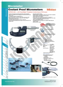 Coolant Proof Micrometers SERIES 293 Mitutoyo ไมโครมิเตอร์ 1table