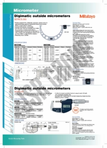 Digimatic Outside Micrometers SERIES 293 Mitutoyo table
