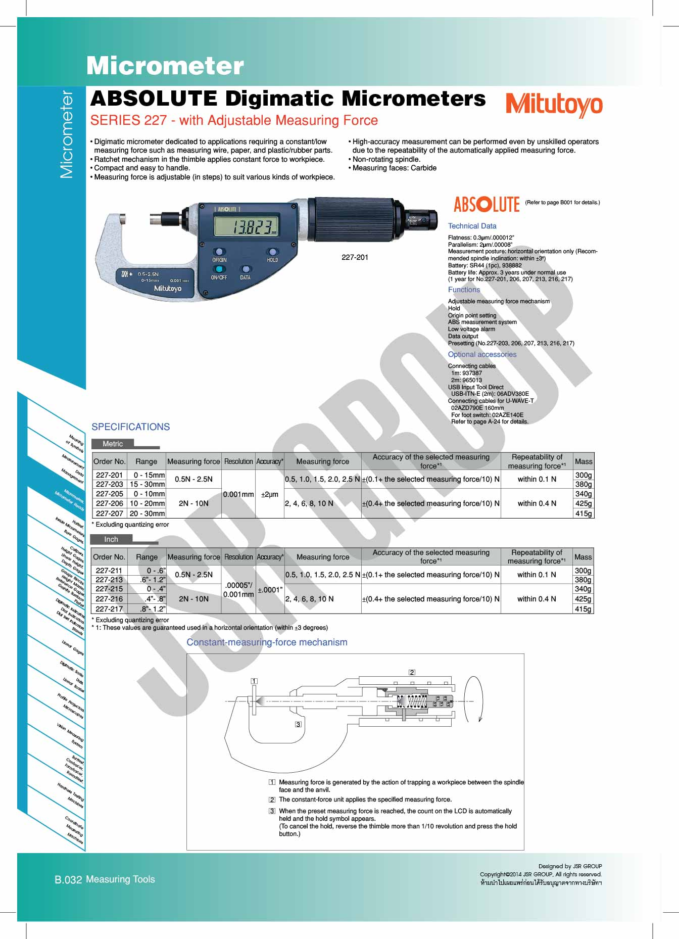 ABSOLUTE Digimatic Micrometers SERIES 227 Mitutoyo 1 table