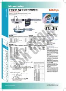 Caliper Type Micrometers SERIES 343,143 Mitutoyo table
