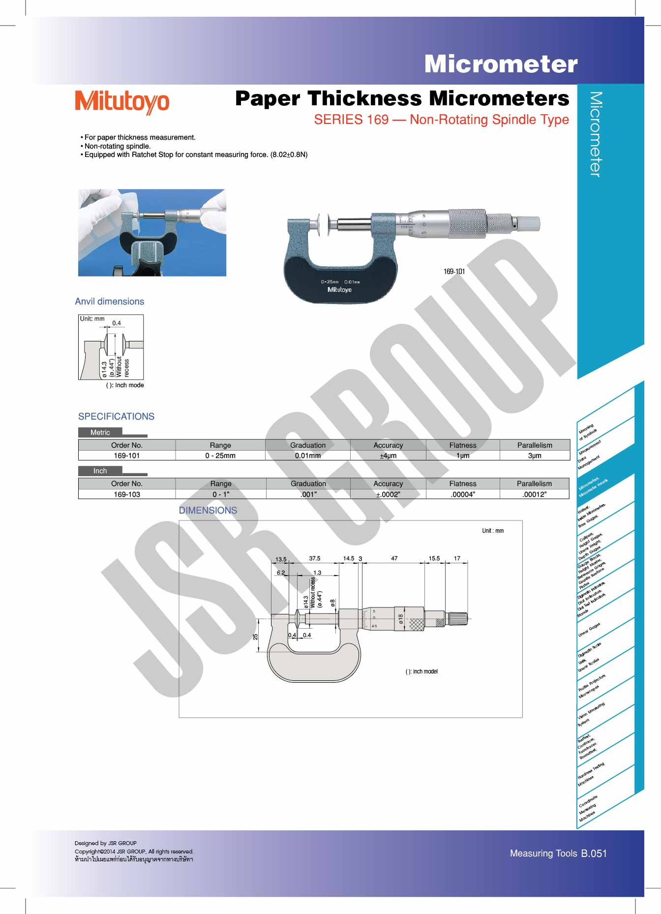Paper Thickness Micrometers SERIES 169 Mitutoyo table