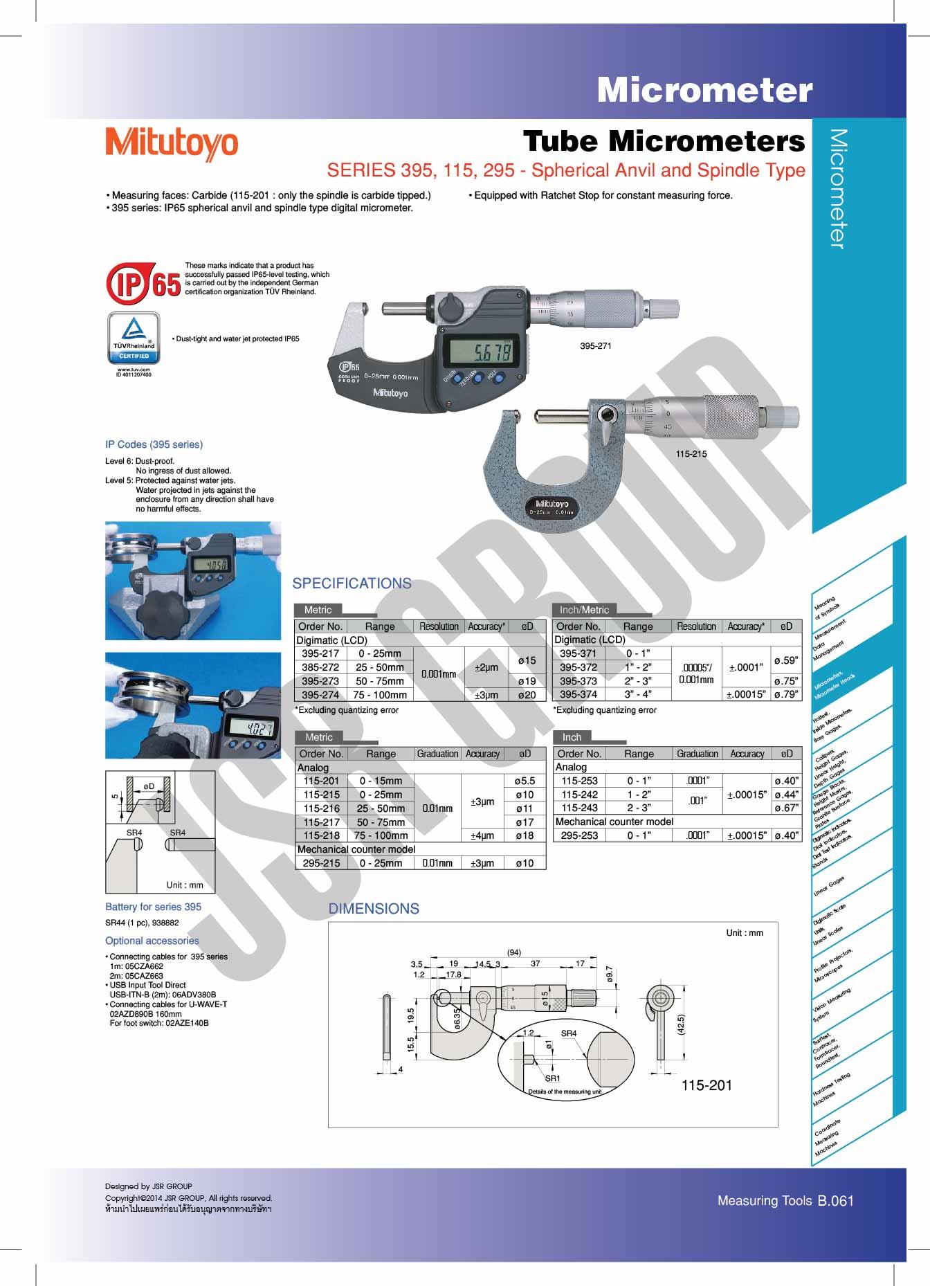 Tube Micrometers SERIES 395,115,295 Spherical Anvil and Spindle Type Mitutoyo table