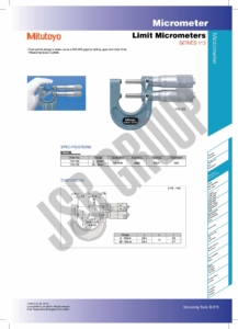 Limit Micrometers SERIES 113 Mitutoyo table